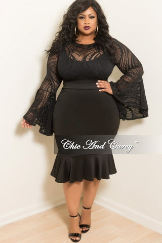 New Plus Size Mesh BodyCon with Mermaid Bottom and Bell Sleeves in Black