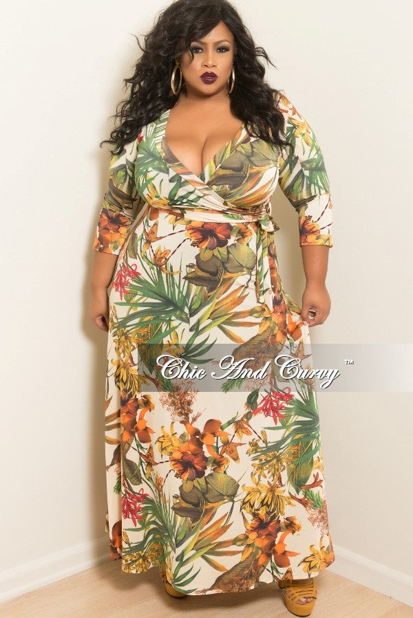 New Plus Size Deep V Faux Wrap Dress With 34 Sleeves In Cream