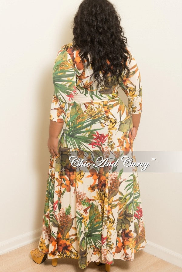 New Plus Size Deep V Faux Wrap Dress with 3/4 Sleeves in Cream, Orange, Yellow, Green Floral Print