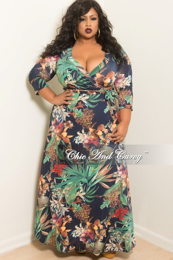 Final Sale Plus Size Floral Deep V-Neck Faux Dress with 3 4 Sleeves in –  Chic And Curvy 3de3b0fea