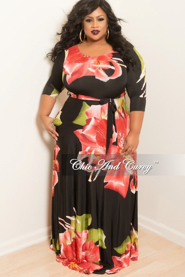 New Plus Size Long Dress with 3/4 Sleeve and Tie in Black, Red and Floral Print