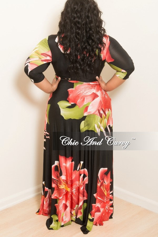 35% Off Sale - Final Sale Plus Size Long Dress with 3/4 Sleeve and Tie in Black, Red and Floral Print