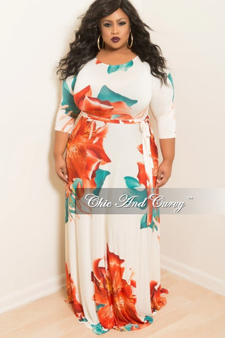 New Plus Size Long Dress with 3/4 Sleeve and Tie in Off White, Orange Floral and Teal Floral Print