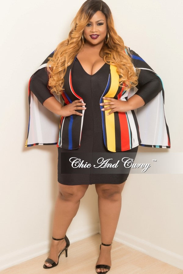 New Plus Size Sleeveless Multi Colored Vertical Stripe Cape Jacket in Black, Red, Teal, Yellow, Royal Blue and White
