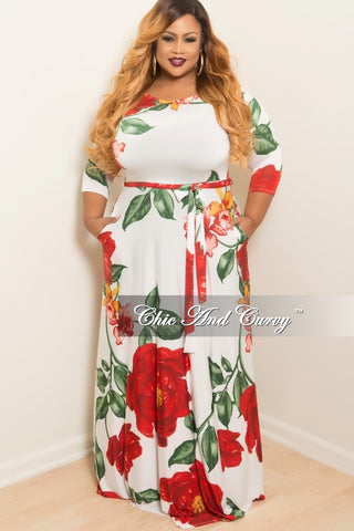 Final Sale Plus Size Floral Long Dress with 3/4 Sleeves and Attached Tie in White, Red, Yellow and Green print