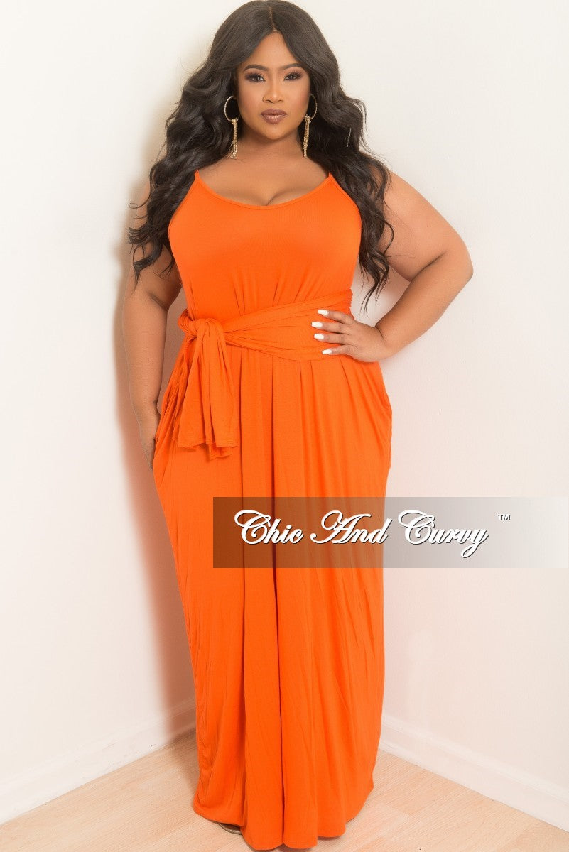 New Plus Size Spaghetti Strap Long Dress with Matching Head Wrap in Orange