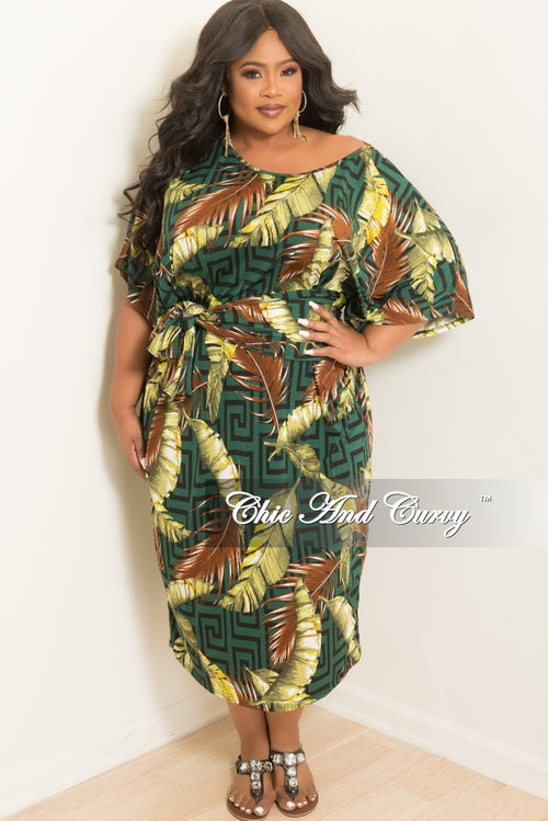 New Plus Size Oversize Dress with Matching Head Wrap in Olive and Brown Leaf Print