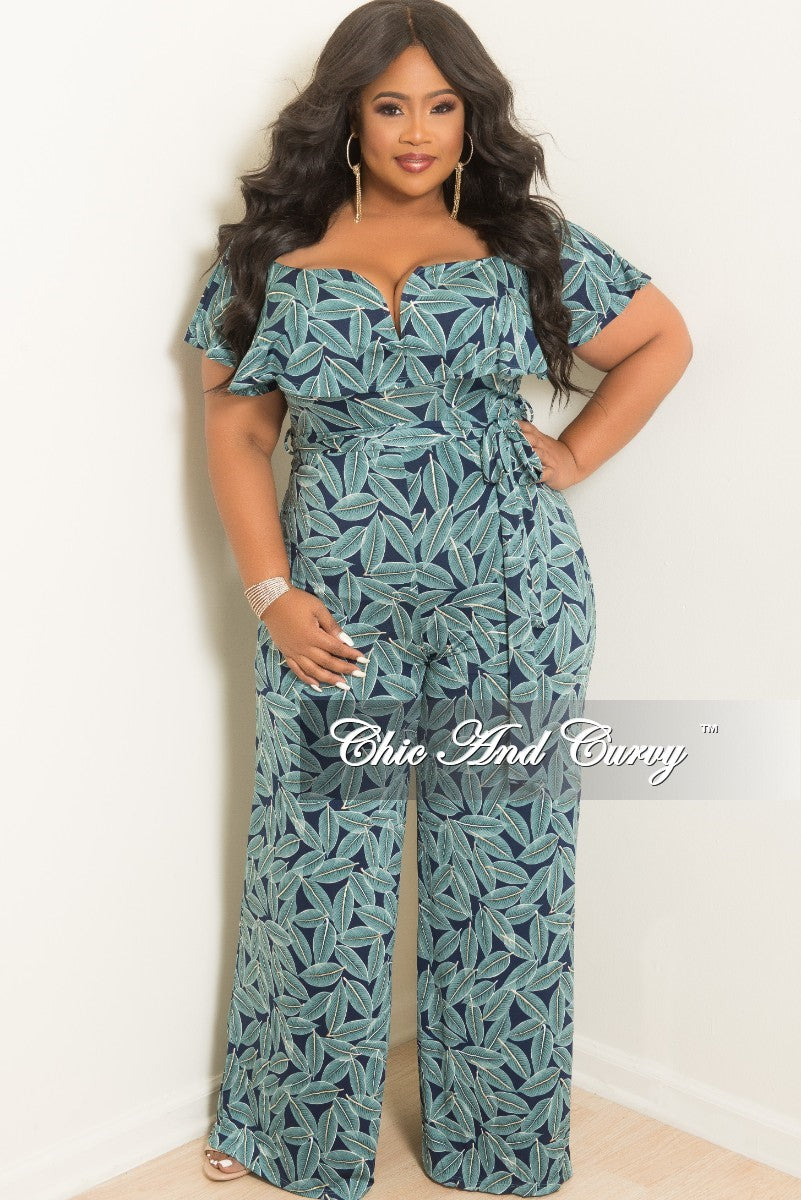 Final Sale Plus Size Off the Shoulder V-Neck Ruffle Jumpsuit with Attached Tie in Teal and Navy Leaf Print