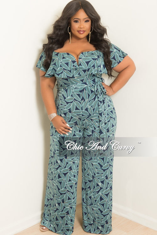 New Plus Size Off the Shoulder V-Neck Ruffle Jumpsuit with Attached Tie in Teal and Navy Leaf Print