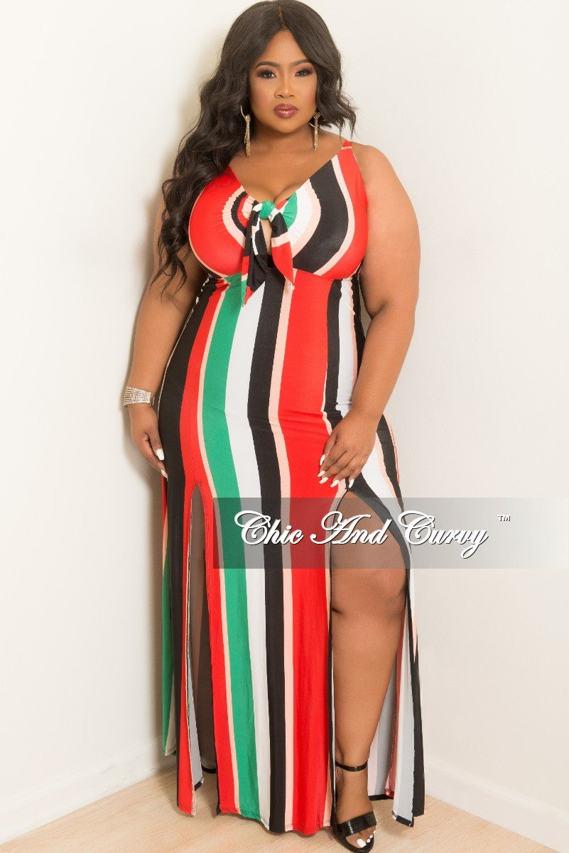 New Plus Size Bow Front Sleeveless Stripe Dress with Front Slits in Black Pink Red White and Green