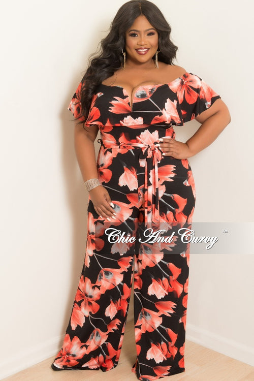 New Plus Size V-Neck Off the Shoulder Ruffle Jumpsuit with Attached Tie in Black and Red Floral Print