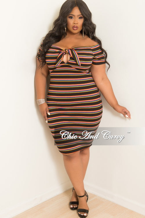 New Plus Size BodyCon Dress with Front Tie in Multi Color Stripe Print