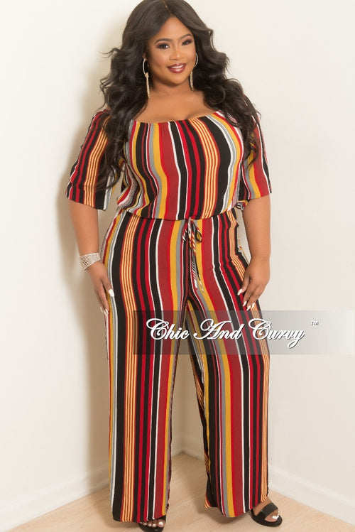 09acc9091e66 Final Sale Plus Size Off the Shoulder Stripe Jumpsuit in Burgundy Mustard  Black