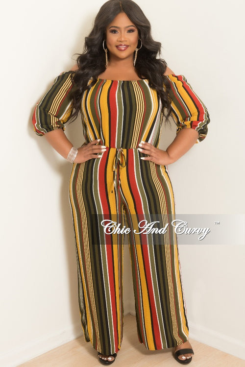New Plus Size Off the Shoulder Stripe Jumpsuit in Olive Mustard Black