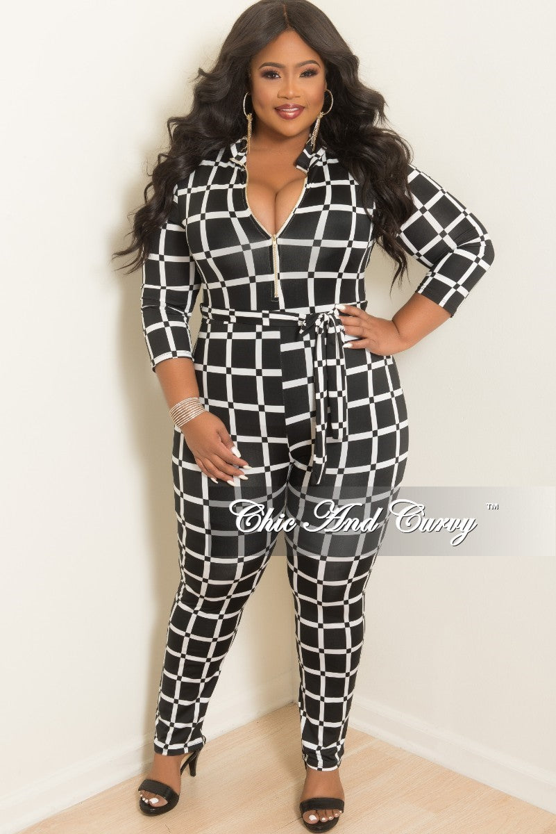 967bc548b50c New Plus Size Long Sleeve Zip-Up Jumpsuit with Attached Tie in Black a –  Chic And Curvy