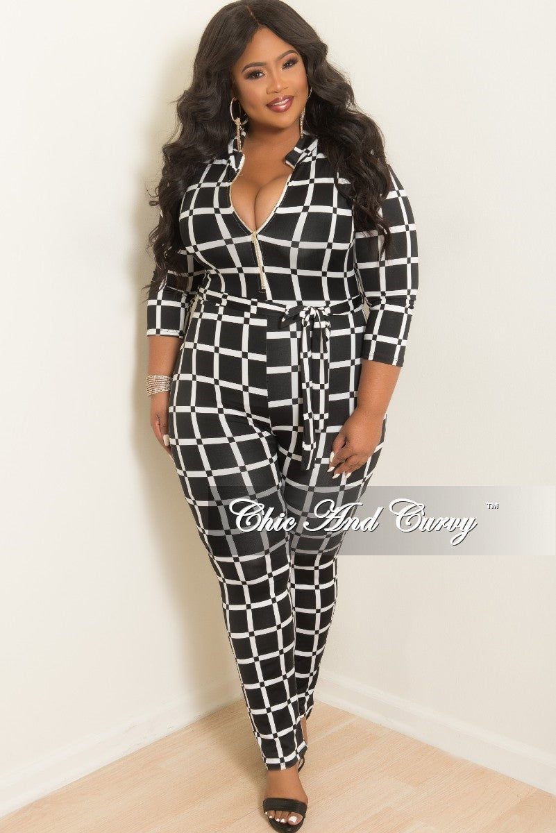 New Plus Size Long Sleeve Zip-Up Jumpsuit with Attached Tie in Black and White Checker Print