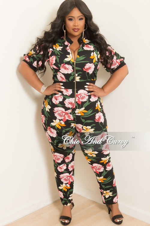 2f474eacb00 New Plus Size Short Sleeve Zip-Up Jumpsuit in Black Floral Print