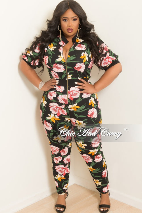 New Plus Size Short Sleeve Zip-Up Jumpsuit in Black Floral Print