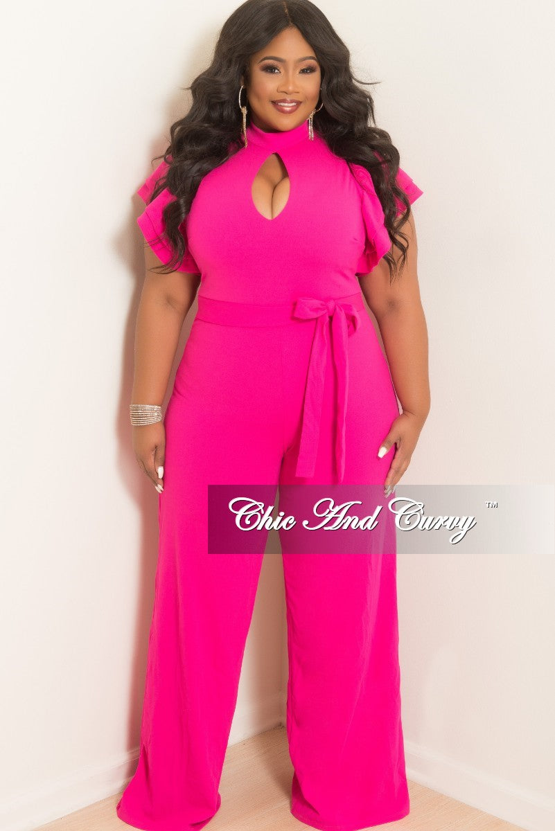 Final Sale Plus Size Ruffle Sleeve Jumpsuit with Keyhole in Fuchsia
