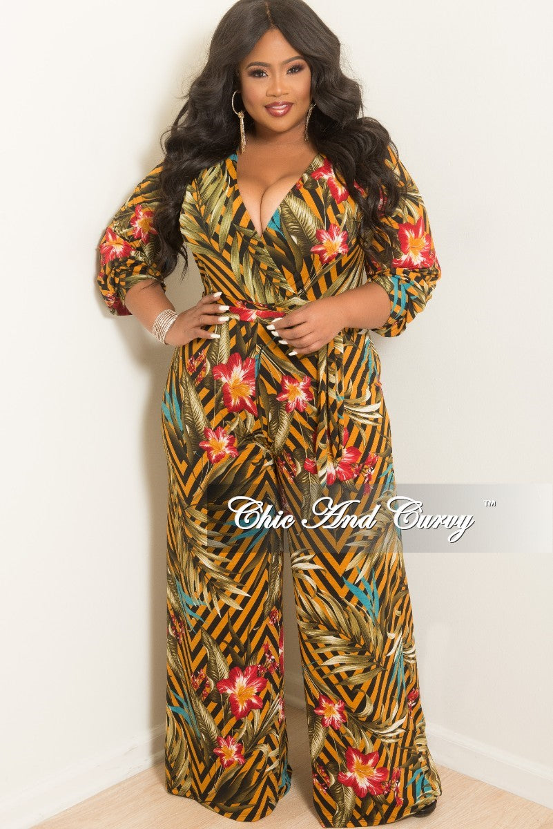 New Plus Size  Long Sleeve Faux Wrap Jumpsuit with Attached Tie in Mustard Olive Teal and Red Stripe Floral Print