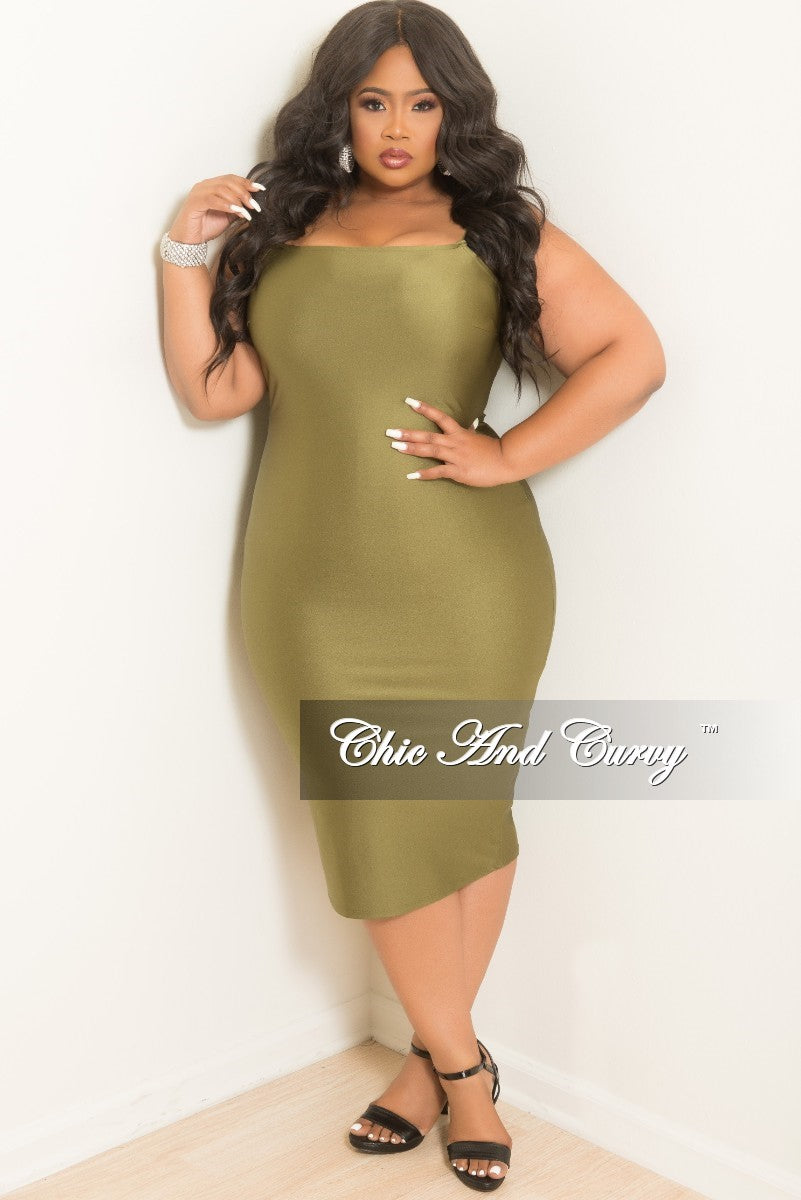 Final Sale Plus Size Sleeveless Spaghetti Strap BodyCon Dress in Olive