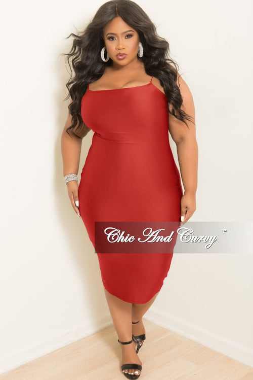 Final Sale Plus Size Sleeveless Spaghetti Strap BodyCon Dress in Burgundy