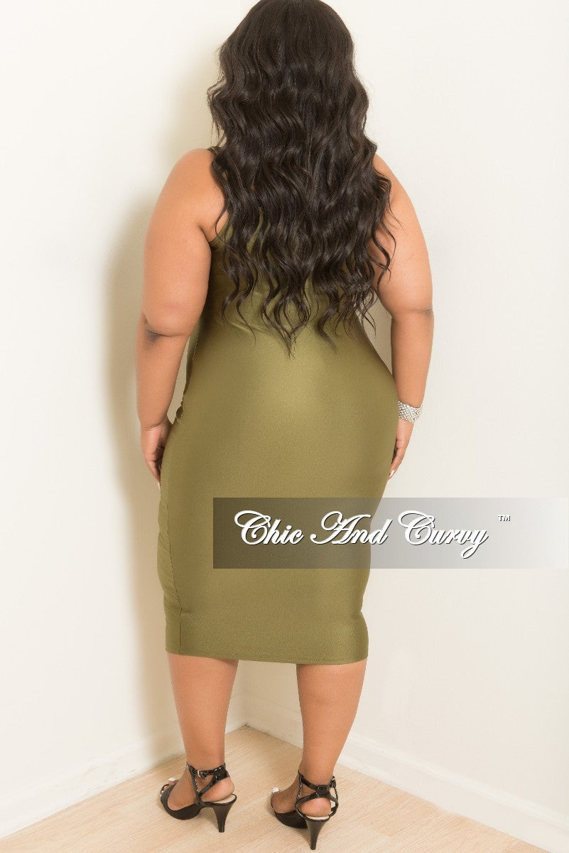 New Plus Size Sleeveless Spaghetti Strap BodyCon Dress in Olive
