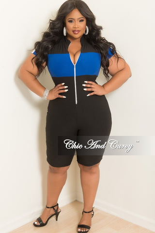 db45220a09 New Plus Size Zip-Up Romper in Black with Royal Blue and White Trim. $  45.00. New Plus Size Cold Shoulder Dress in Black Pink Navy and Tan Floral  Print