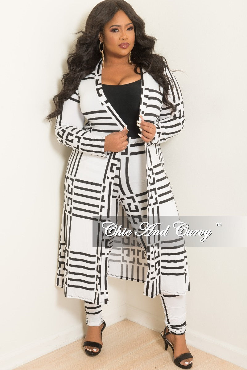 c693e55faec Final Sale Plus Size 2-Piece Duster and Pants Set in White and Black P –  Chic And Curvy