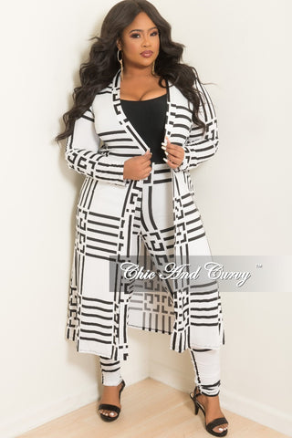 124a6c90a7 Final Sale Plus Size 2-Piece Duster and Pants Set in White and Black Print.    57.80.   68.00. Final Sale Plus Size Long Sleeve Faux Wrap Jumpsuit ...