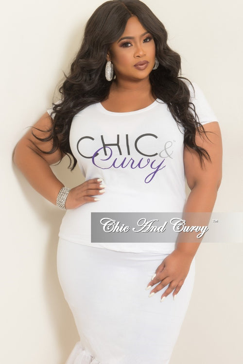 Final Sale Plus Size Chic And Curvy T-Shirt in White Black and Purple