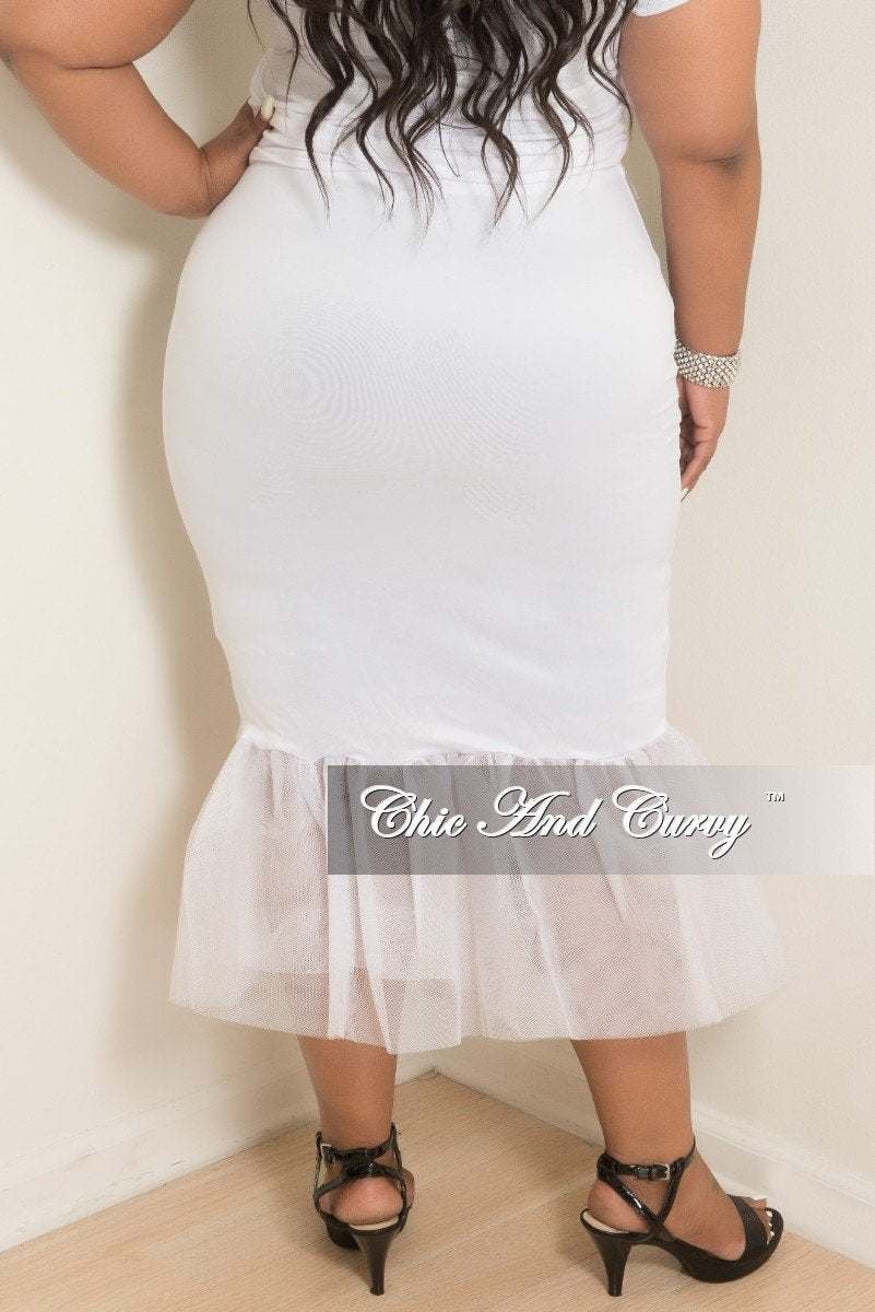 Final Sale Plus Size High Waist Pencil Skirt with Tulle Bottom in White