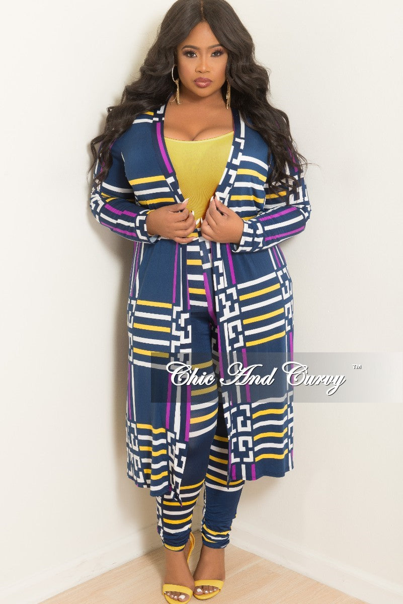 fc5e3a498b2 Final Sale Plus Size 2-Piece Duster and Pants Set in Navy Purple Yello –  Chic And Curvy