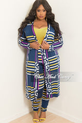 Final Sale Plus Size 2-Piece Duster and Pants Set in Navy Purple Yellow and White Print
