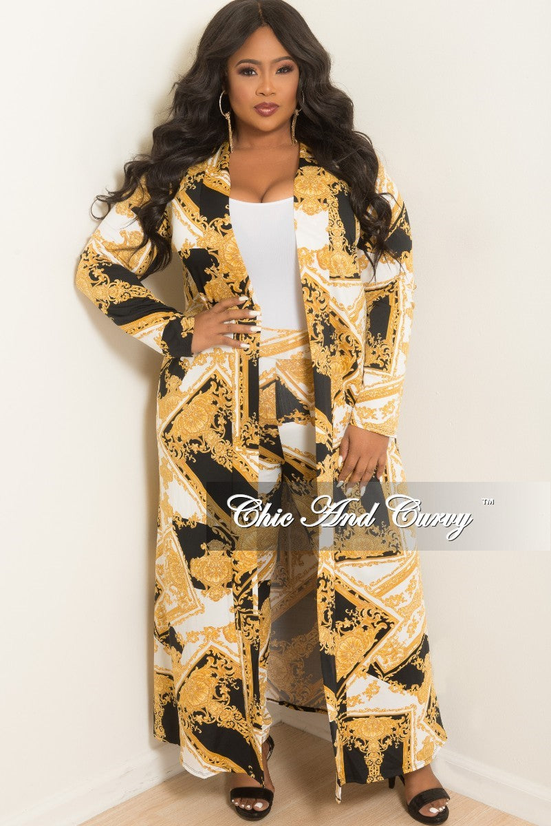 5f907e5c7 New Plus Size 2-Piece Duster and Pants Set in Black, White and Gold Pr –  Chic And Curvy