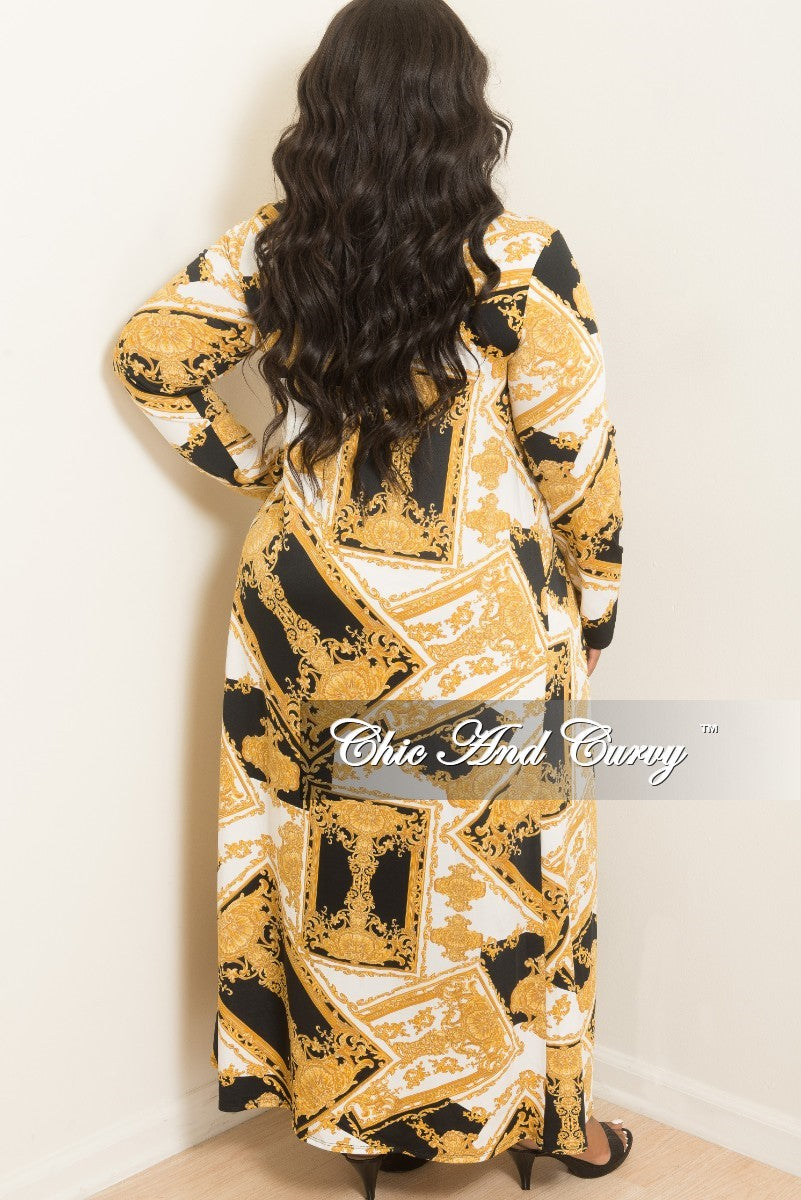 New Plus Size 2-Piece Duster and Pants Set in Black, White and Gold Print