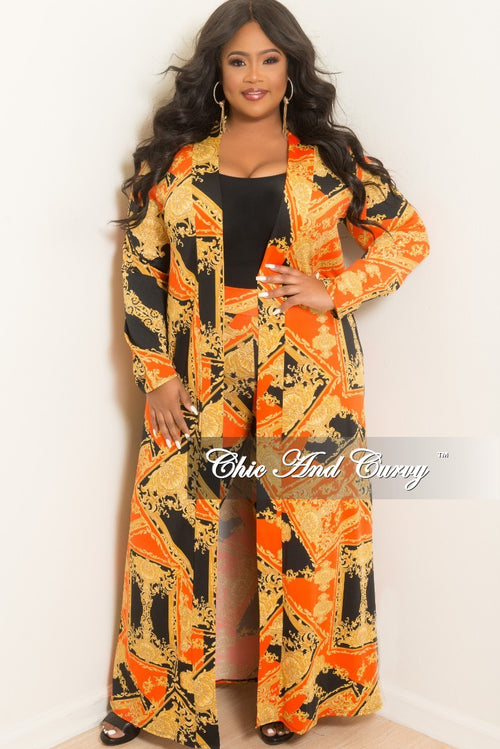 978edc2653 New Plus Size 2-Piece Duster and Pants Set in Orange