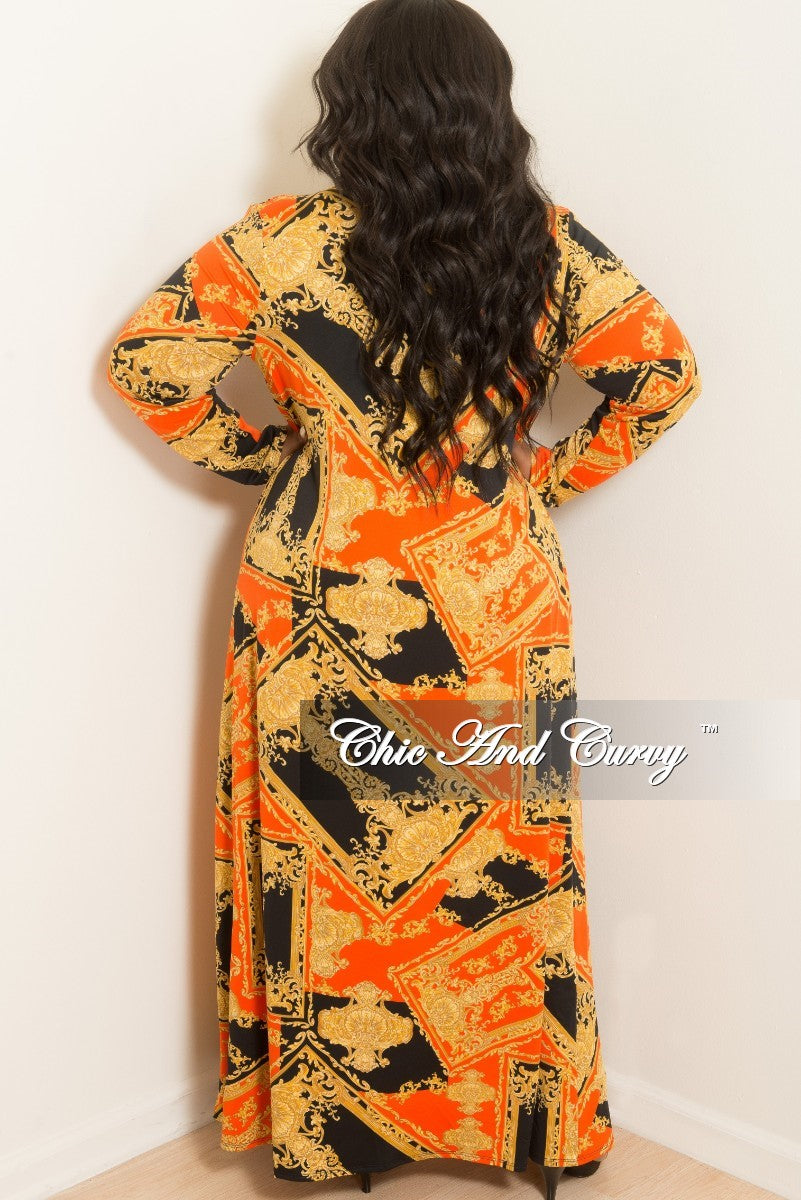 New Plus Size 2-Piece Duster and Pants Set in Orange, Black and Gold Print