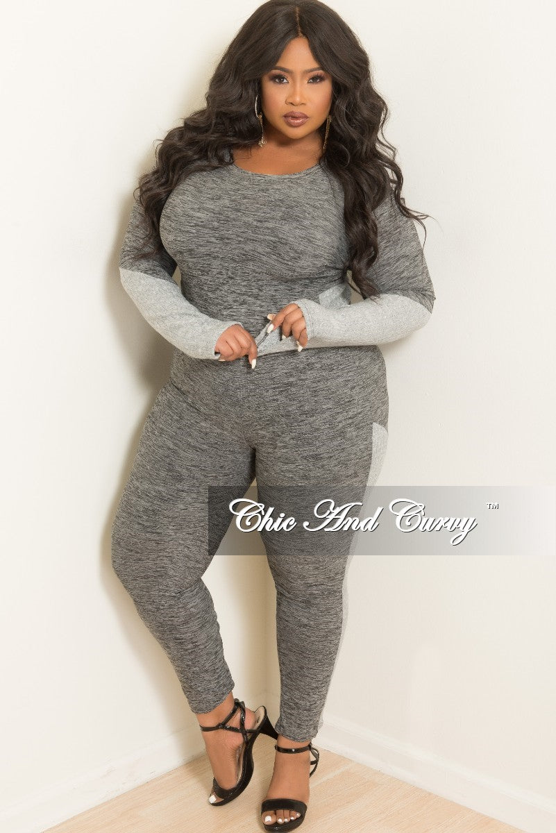 Final Sale Plus Size 2-Piece Top and Pants Set in Grey
