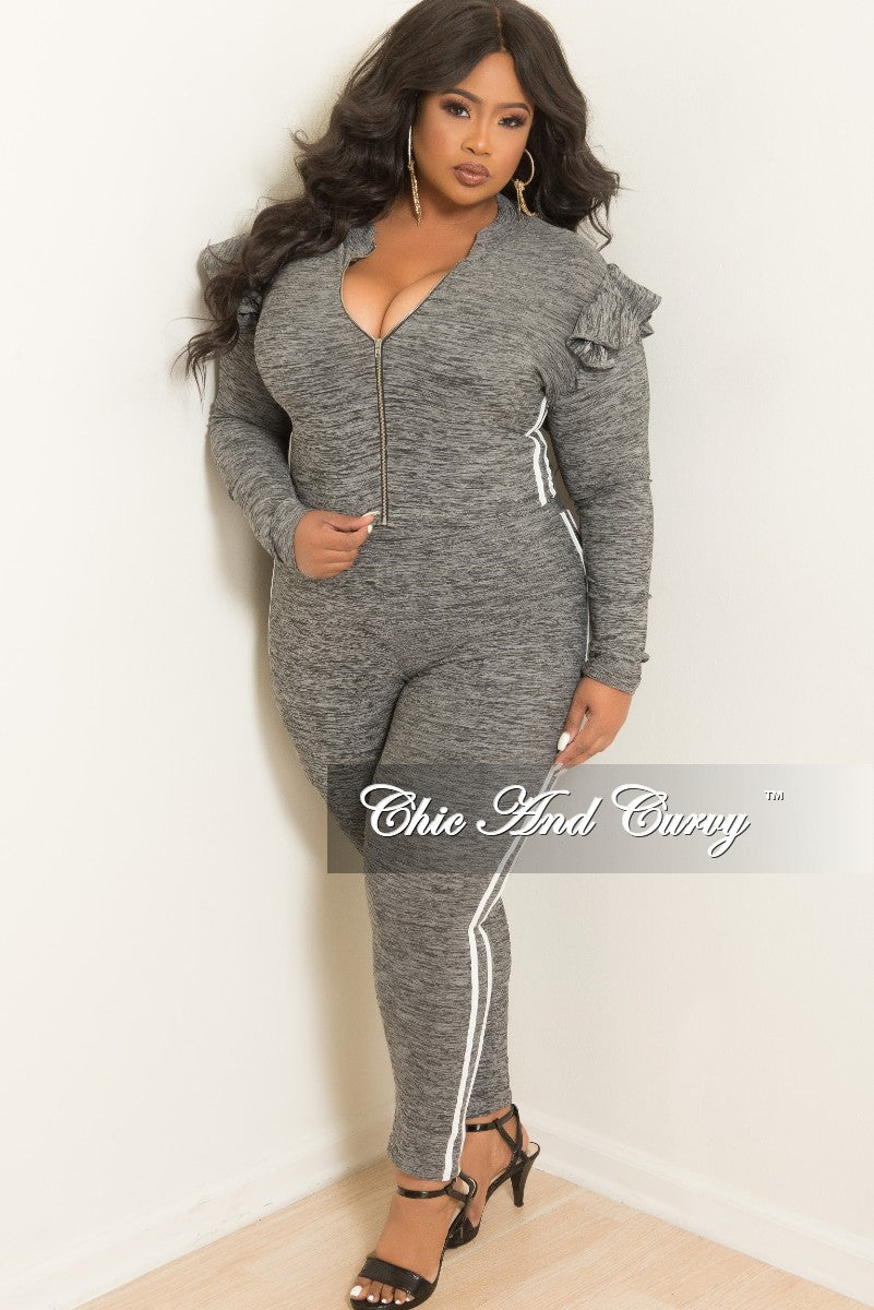 New Plus Size 2-Piece Ruffle Zip-Up Top and Matching Legging Set with White Trim in Grey