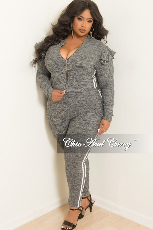 Final Sale Plus Size 2-Piece Ruffle Zip-Up Top and Matching Legging Set with White Trim in Grey