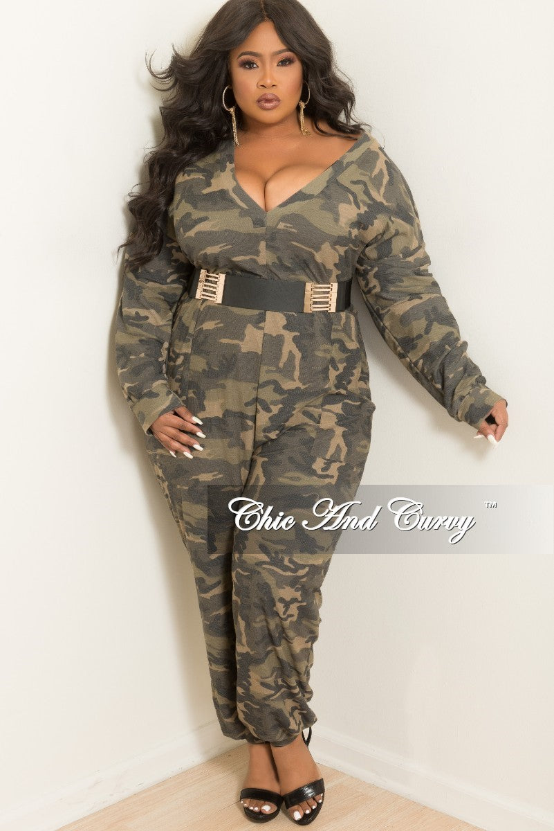 0bfb1901b0c8 New Plus Size Deep V-Neck Oversized Jumpsuit with Front Pockets in Cam –  Chic And Curvy