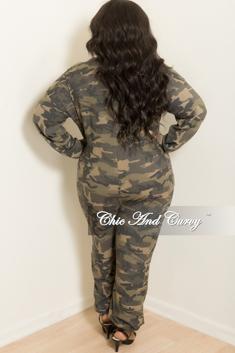 9cd5260b473 New Plus Size Deep V-Neck Oversized Jumpsuit with Front Pockets in  Camouflage Print