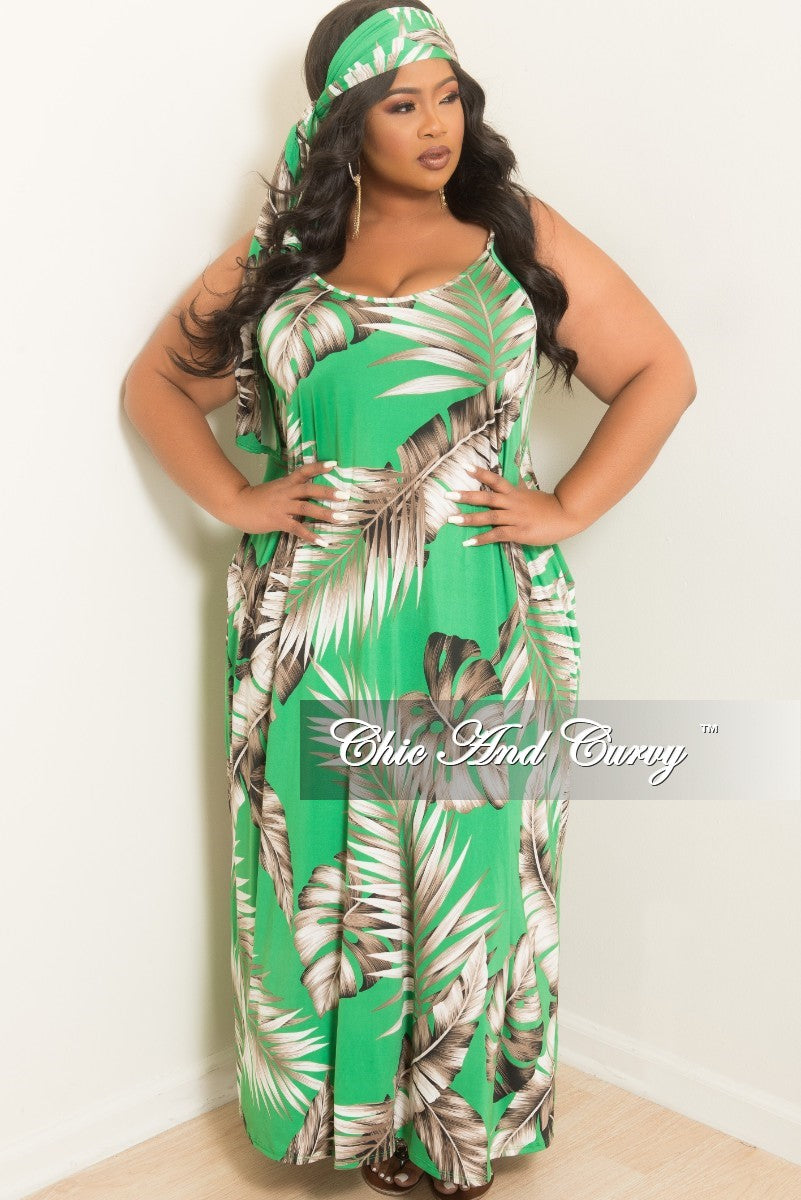 New Plus Size Spaghetti Strap Leaf Printed Long Dress with Matching Head Wrap in Green