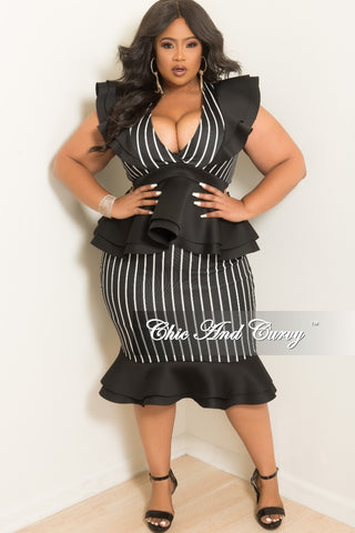 fe9fbaface New Plus Size 2-Piece Deep V-Neck Top and Skirt Set with Scuba Ruffle Trim  in Black and White Stripe Print