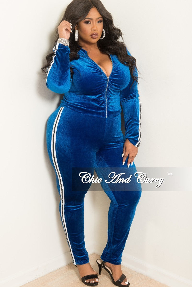 Final Sale Plus Size 2-Piece Velvet Ruched Zip-Up Top and Pant Set in Royal Blue with White and Rhinestone Trim