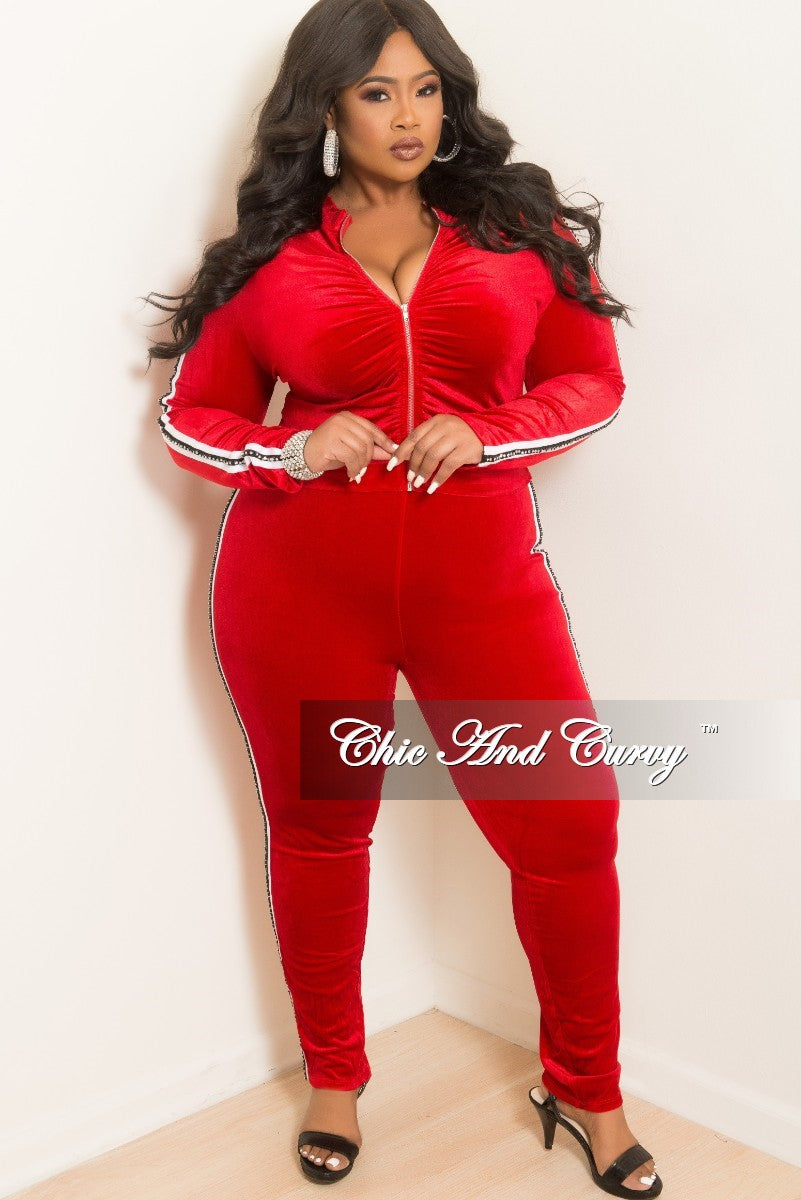 New Plus Size 2-Piece Velvet Ruched Zip-Up Top and Pant Set in Red with White and Rhinestone Trim
