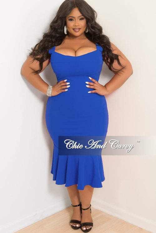 97d167ab9697 New Plus Size Sleeveless BodyCon Dress with Ruffle Bottom in Royal Blue