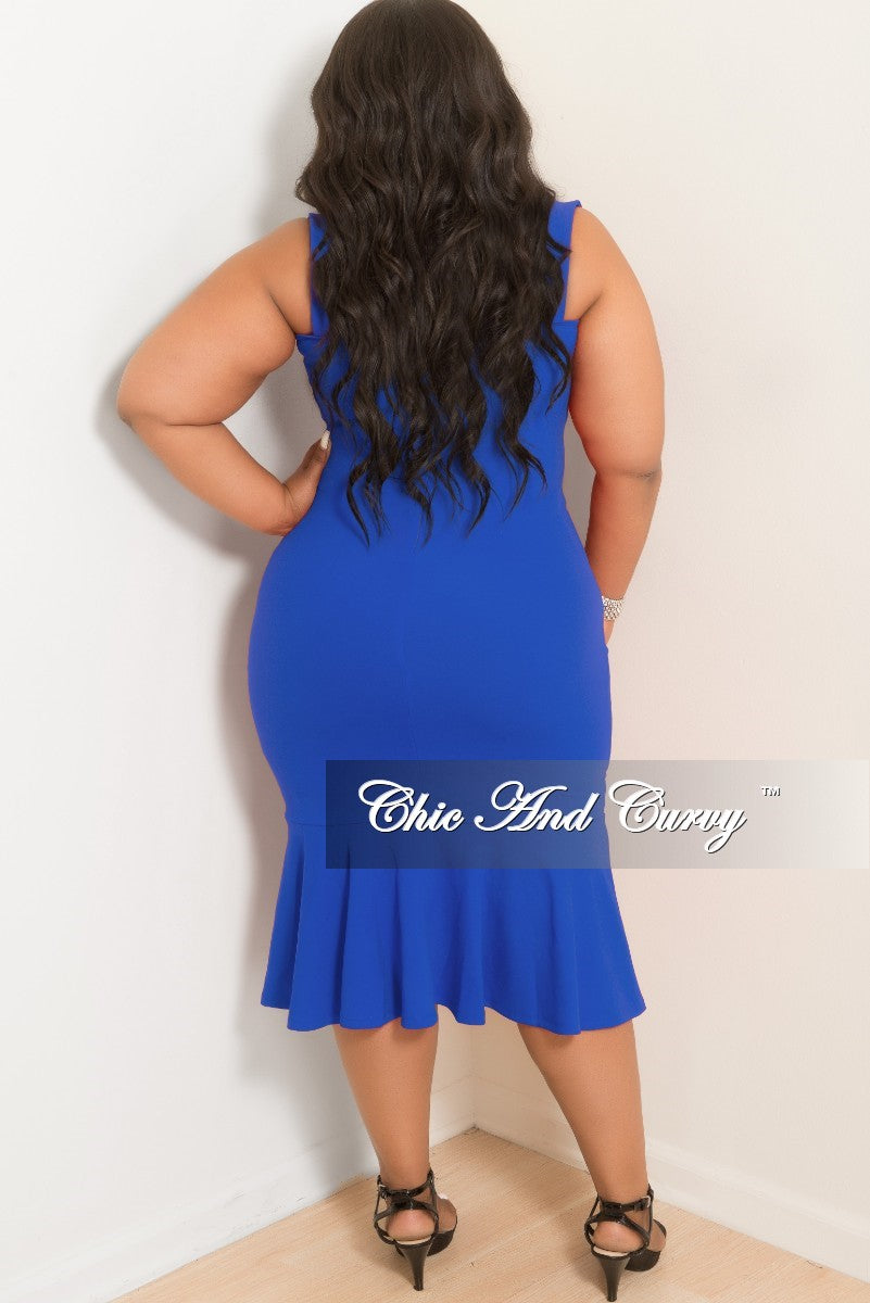 New Plus Size Sleeveless BodyCon Dress with Ruffle Bottom in Royal Blue