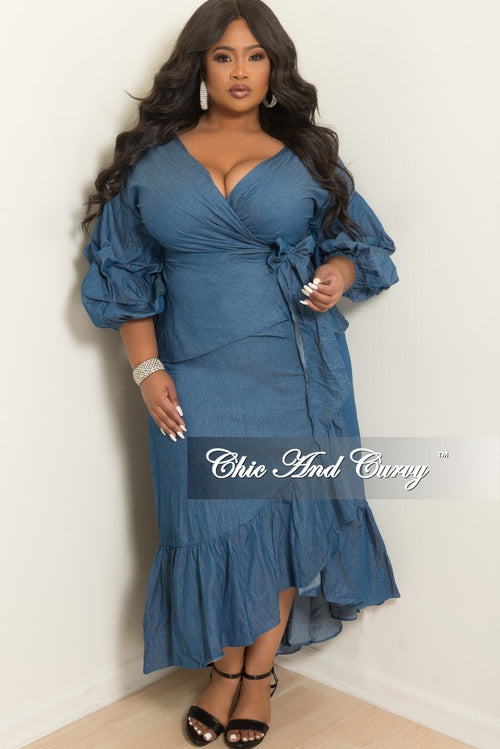 Final Sale Plus Size 2-Piece Wrap Top and Long Skirt in Denim